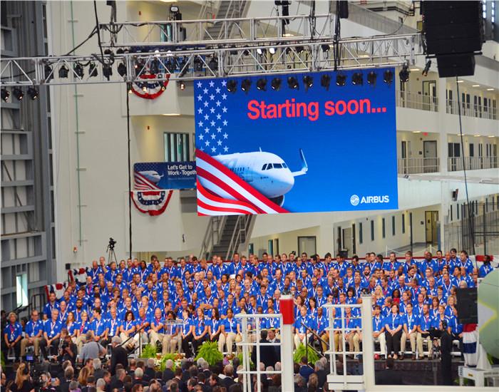 美国空客A320现场P3.91室内租赁全彩显示屏