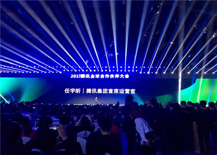 易事达户内轻翼P3.91 560平方米LED显示屏助力成都西部博览城腾讯全球合作伙伴大会顺利召开